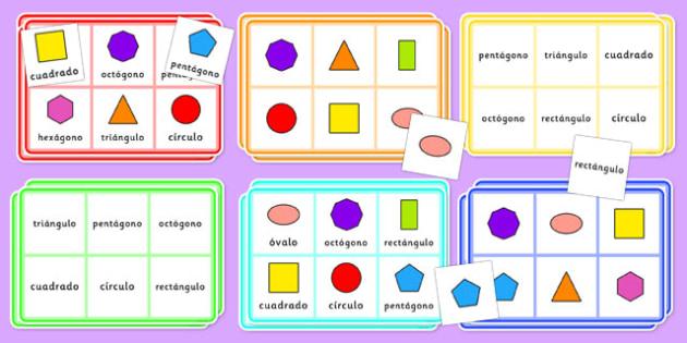 Formas geométricas 2D - Bingo - formas, geometría, cuadrado, círculo, juego