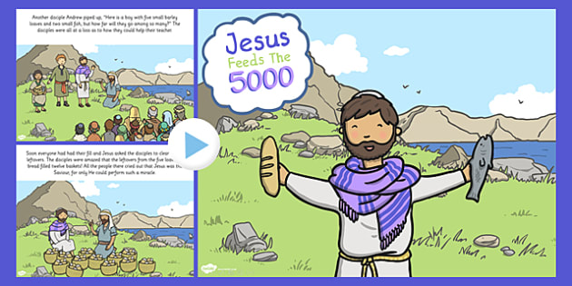 Jesus Feeds the 5000 Bible Story PowerPoint - bible, story, Jesus
