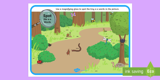 Phase 5 a-e Words Minibeasts Scene Magnifying Glass Worksheet / Activity Sheet - phonics, letters and sounds, phase 5, a-e sound, magnifier, magnifying glass, find, activity, group,