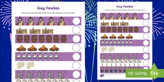 Guy Fawkes Themed Counting up to 10 Activity Sheet