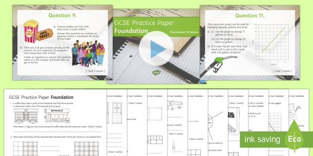 Maths GCSE Practice Paper Pack Foundation  - GCSE Exam Style Papers