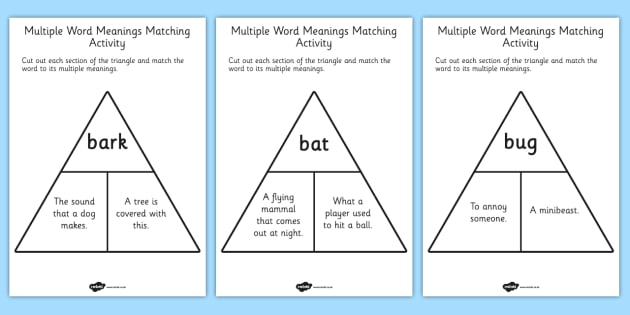 Multiple Word Meanings Matching Activity - word meaning, activity