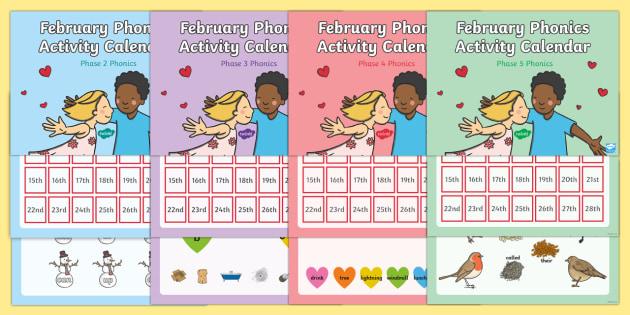 February Phonics Activity Calendar PowerPoint Pack Phonics