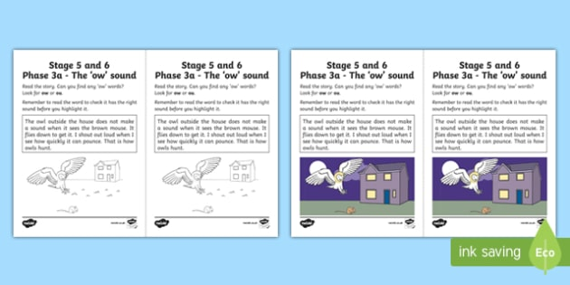 Northern Ireland Linguistic Phonics Stage 5 and 6 Phase 3a, 'ow' Sound Worksheet / Activity Sheet