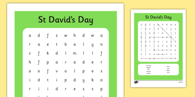 St Davids Day Wordsearch - st davids day, wordsearch, words