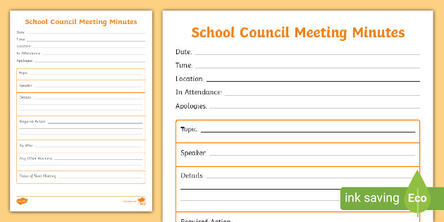 School Council Meeting Minutes Primary Resources