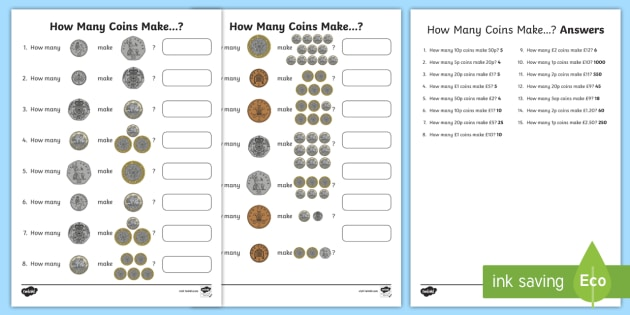 how many coins make uk worksheet activity sheet. Black Bedroom Furniture Sets. Home Design Ideas