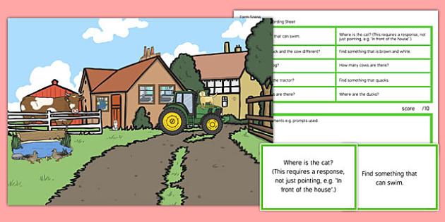 Farm Scene Blanks Level 2 Questions - receptive language, expressive language, verbal reasoning, language delay, language disorder, comprehension, autism