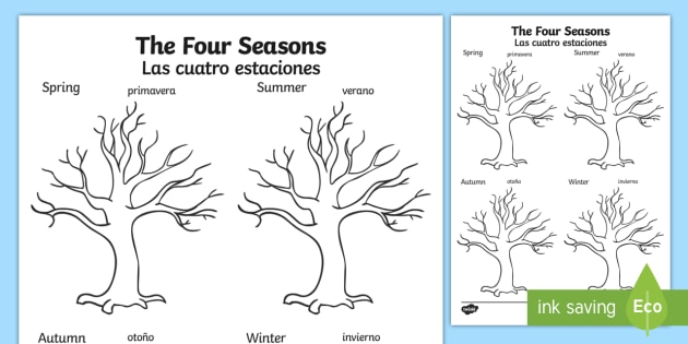 four seasons tree worksheet activity sheet english spanish. Black Bedroom Furniture Sets. Home Design Ideas