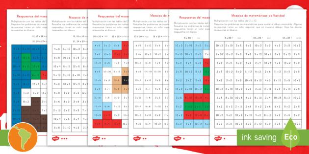 Ficha De Actividad Mosaico De Navidad De Multiplicación
