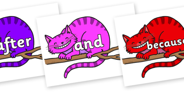 Connectives on Cheshire Cats - Connectives, VCOP, connective resources, connectives display words, connective displays