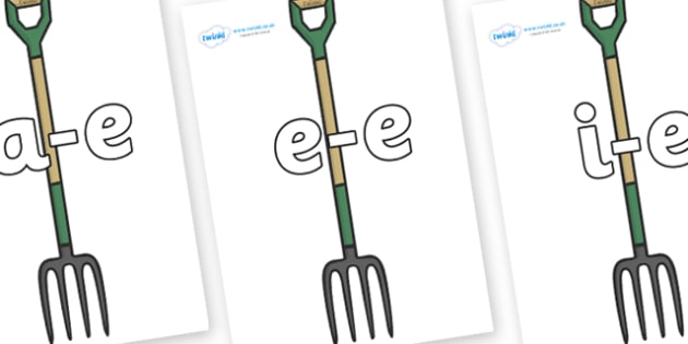 Modifying E Letters on Garden Forks - Modifying E, letters, modify, Phase 5, Phase five, alternative spellings for phonemes, DfES letters and Sounds