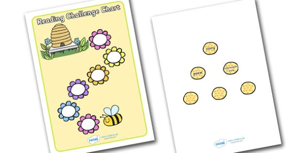 Reading Challenge Chart (Flowers & Bees) - Challenge Chart, Reading chart, literacy, books, types of books, bee, flower, bees, flowers