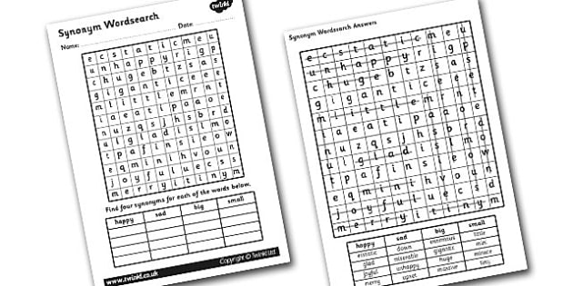 Synonyms Wordsearch - synonyms, synonyms word search, synonyms activity, synonym game, synonym word game, synonym search game, synonym worksheet