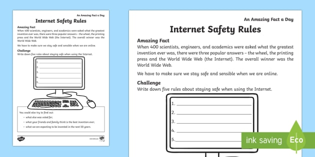 Internet Safety Rules Worksheet / Worksheet - Amazing Fact ...
