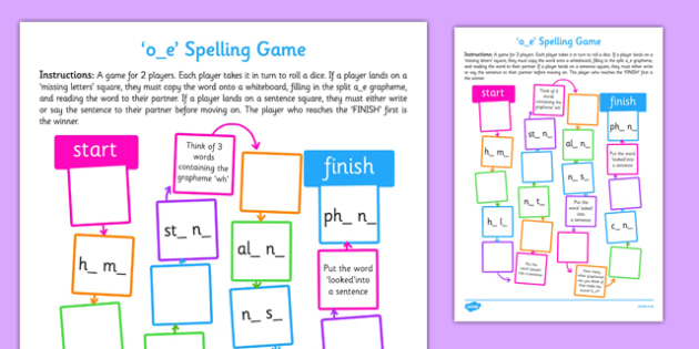 o-e Spelling Board Game