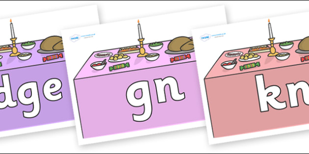 Silent Letters on Christmas Dinner (Tables) - Silent Letters, silent letter, letter blend, consonant, consonants, digraph, trigraph, A-Z letters, literacy, alphabet, letters, alternative sounds
