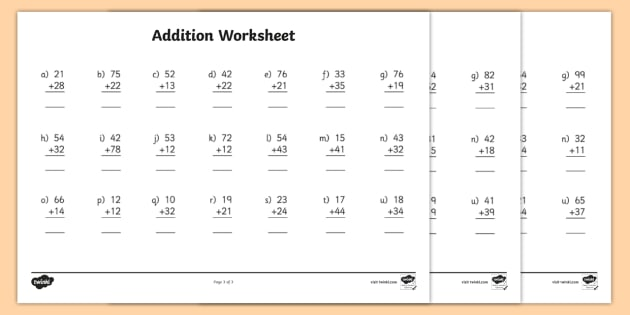 2 Digit Number Addition Worksheets Addition Worksheets Addition