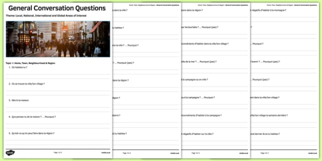 House and Home Themed General Conversation Questions Activity Sheet French - Speaking, oral, region, neighbourhood, country, maison, town