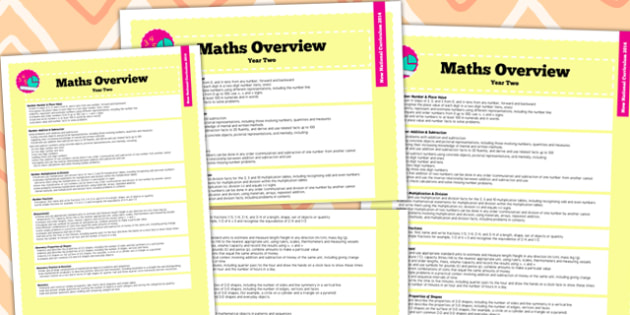 2014 Curriculum Year 2 Maths Overview - new curriculum, numeracy