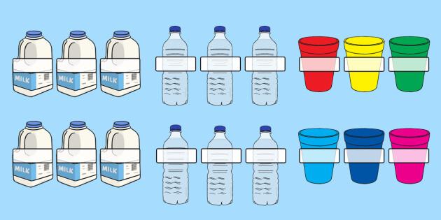 Milk, Water Bottle and Cup Editable Self Registration Labels - self reg