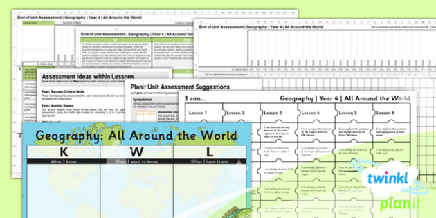 Geography: All Around the World Year 4 Unit Assessment Pack