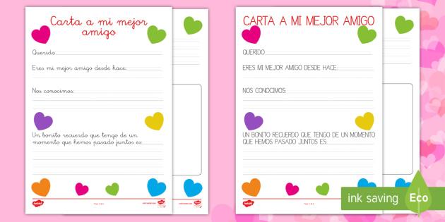 Carta a mi mejor amigo Ficha de actividad - San Valentín, amigo, amiga, carta, amor, Spanish
