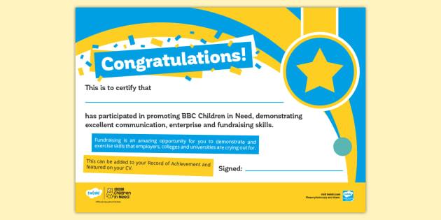 BBC Children in Need Certificate