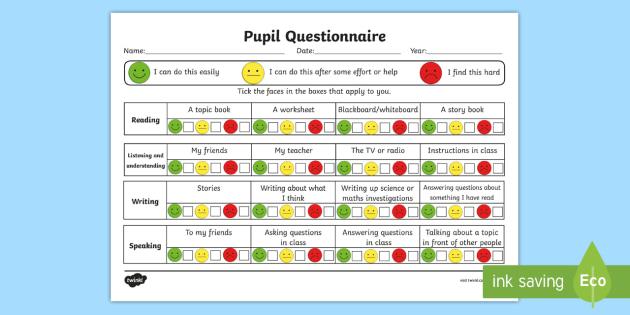 Pupil Questionnaire - literacy, question, transition, about me