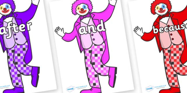 Connectives on Clowns - Connectives, VCOP, connective resources, connectives display words, connective displays