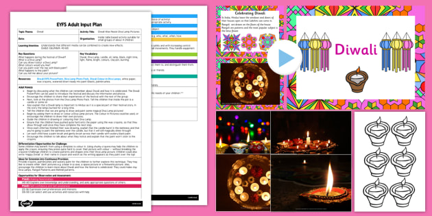 Diwali Wax Resist Diva Lamp Pictures EYFS Adult Input Plan and Resource Pack