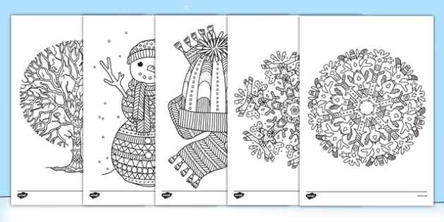 winter themed mindfulness colouring sheets colouring pd fine motor skills well being