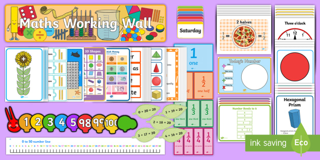 Year 1 Maths Working Wall Display Pack - y1, prompts, challenge, recall, maths facts, four operations