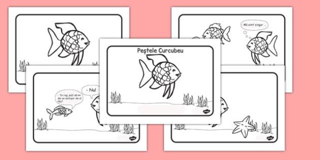 Peștele Curcubeu - Ordonarea imaginilor - peștele curcubeu, ordonare imagini, pești, animale marine, viata marina, materiale, materiale didactice, română, romana, material, material didactic