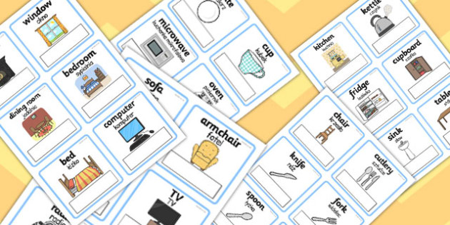 Polish Translation Everyday Objects at Home Editable Cards - polish