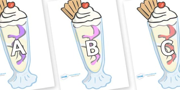 A-Z Alphabet on Ice Cream Sundaes - A-Z, A4, display, Alphabet frieze, Display letters, Letter posters, A-Z letters, Alphabet flashcards