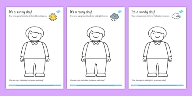 Dress the Toy Person for the Weather Drawing Activity - toys