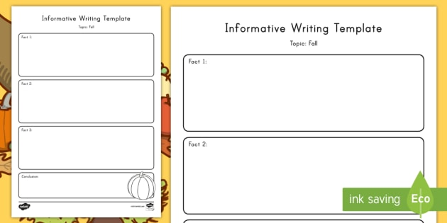 Fall Topic Informative Writing Template - Graphic Organizer