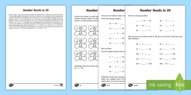 Year 2 Maths Number Bonds To 20 Homework Worksheet / Worksheet