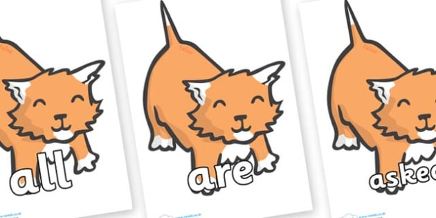 Tricky Words on Kittens - Tricky words, DfES Letters and Sounds, Letters and sounds, display, words