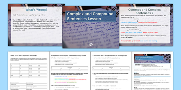 Compound and Complex Sentences Differentiated Lesson Pack - compound sentences, complex sentences, improving writing, sentences, editing, SEN, MLD, KS3, structure