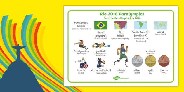Rio Paralympics 2016 SEN Word Mat Romanian Translation-Romanian-translation