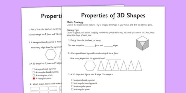 Year 5 Properties of Shapes Worksheet / Worksheet ...
