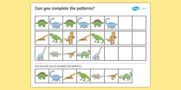 dinosaur complete the pattern worksheet worksheet dinosaurs patterns. Black Bedroom Furniture Sets. Home Design Ideas