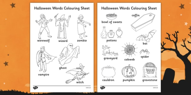 Halloween Words Colouring Worksheet - Halloween, Colour, Words