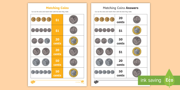 matching coins worksheet activity sheet money math coins. Black Bedroom Furniture Sets. Home Design Ideas