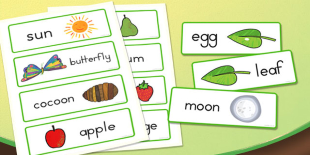 Word Cards to Support Teaching on The Very Hungry Caterpillar - australia, hungry, caterpillar