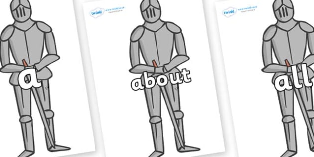 100 High Frequency Words on Suits of Armour - High frequency words, hfw, DfES Letters and Sounds, Letters and Sounds, display words