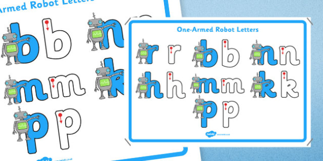 One Armed Robot Letters Formation Display Poster - letter formation, display poster, display, poster, letter, formation, one-armed robot