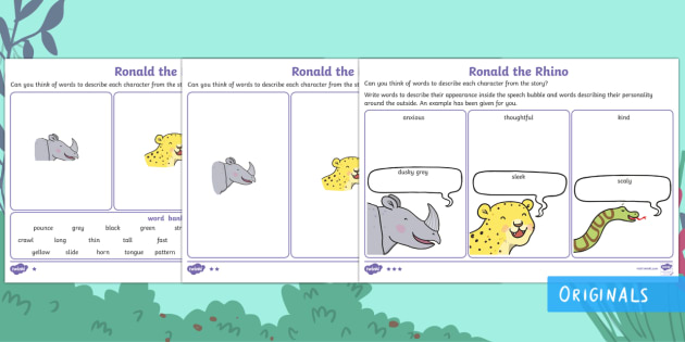 Ronald the Rhino Character Description Activity Sheets - Children's Books, Ronald the Rhino, children's book, rhyme, story, text, rhyming couplets, syllabl
